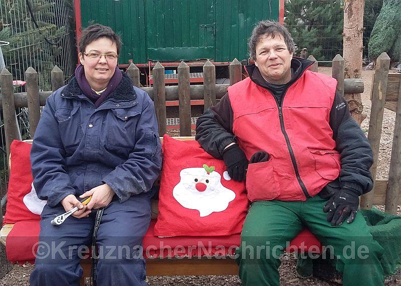 Kristina Zimmermann und Axel Velten vom Forstbetrieb Zimmermann