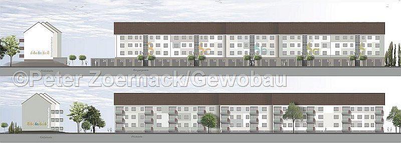 Zurückhaltend und edel wird sich die Häuserfront in der Schubertstraße 6 bis 8 nach Beendigung der Sanierungsarbeiten präsentieren. Mit den Vorarbeiten wurde begonnen, bis Ende 2018 sollen die Maßnahmen an den Häusern umgesetzt sein. Garagenhof und Vorgarten folgen 2019.