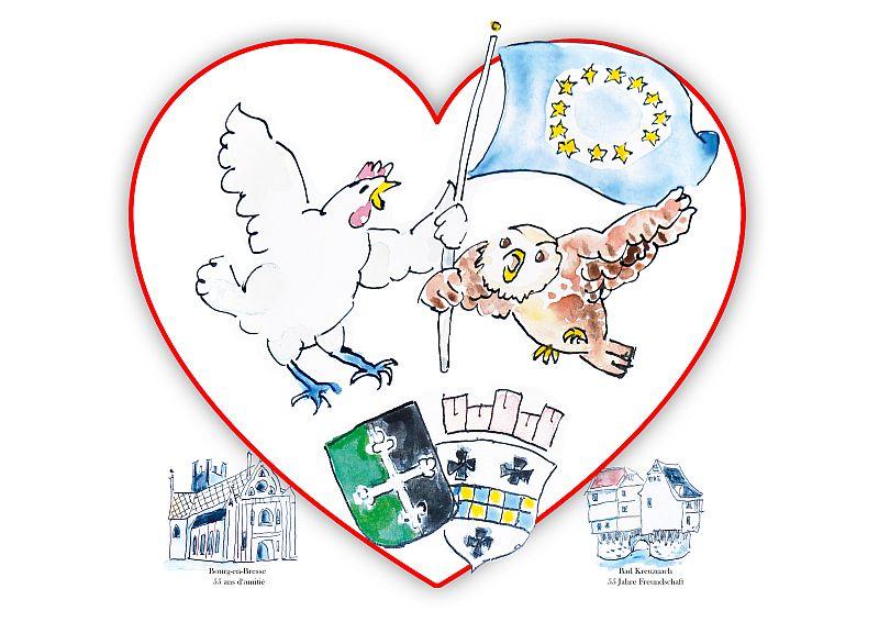 Partnerschaft mit Herz. Der Kauz aus Bad Kreuznach und das Huhn von Bourg-en-Bresse (gezeichnet von Fred Lex) fliegen mit der Fahne Europas vereint.